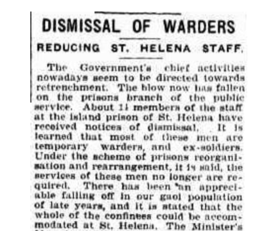 Dismissal of Digger warders 1